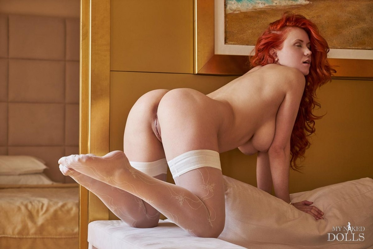 Assured, busty hose pantie redhead