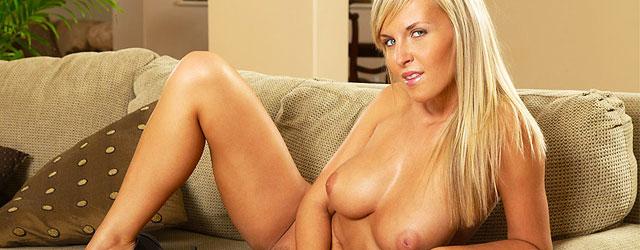 Busty Blonde Cikita Strips Off Her Denim Skirt