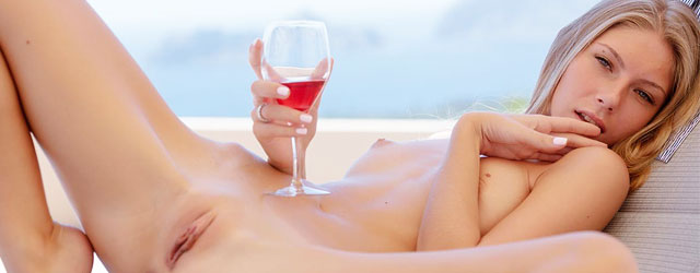 Something is. topless girl abs wine glass can