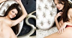 stocking-model-stripping-in-her-bedroom