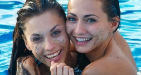 michaela-and-sabrisse-in-a-pool